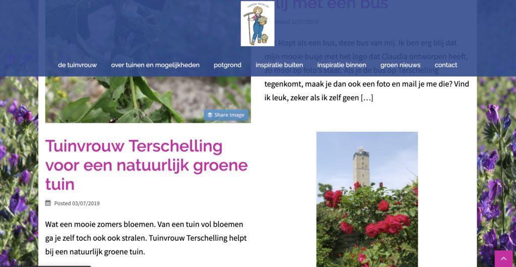 Website van Tuinvrouw Terschelling
