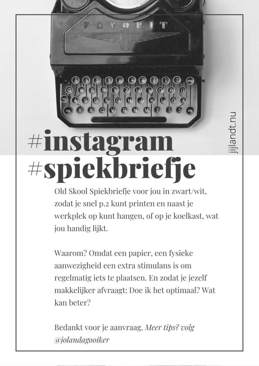 Voorblad Spiekbriefje Instagram